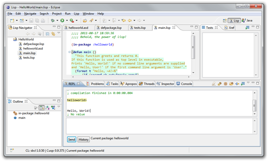 Screenshot of CUSP in Eclipse 3.7