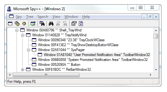 Spy++ Window Showing Notification Area Toolbar