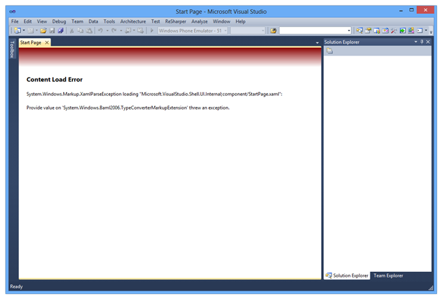 Screenshot of Visual Studio 2010 Error