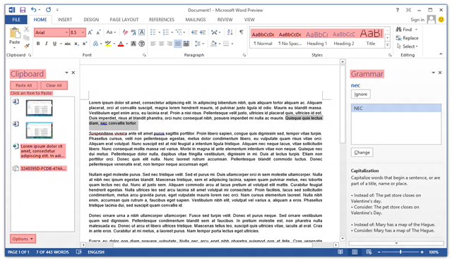 Screenshot of ClearType in Microsoft Word 2013