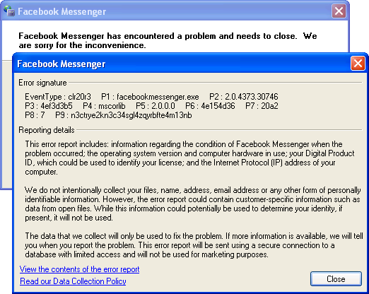 Screenshot of Facebook Messenger for Windows (XP)