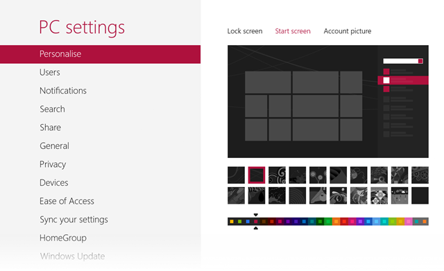 Screenshot of Windows 8 Personalisation Settings