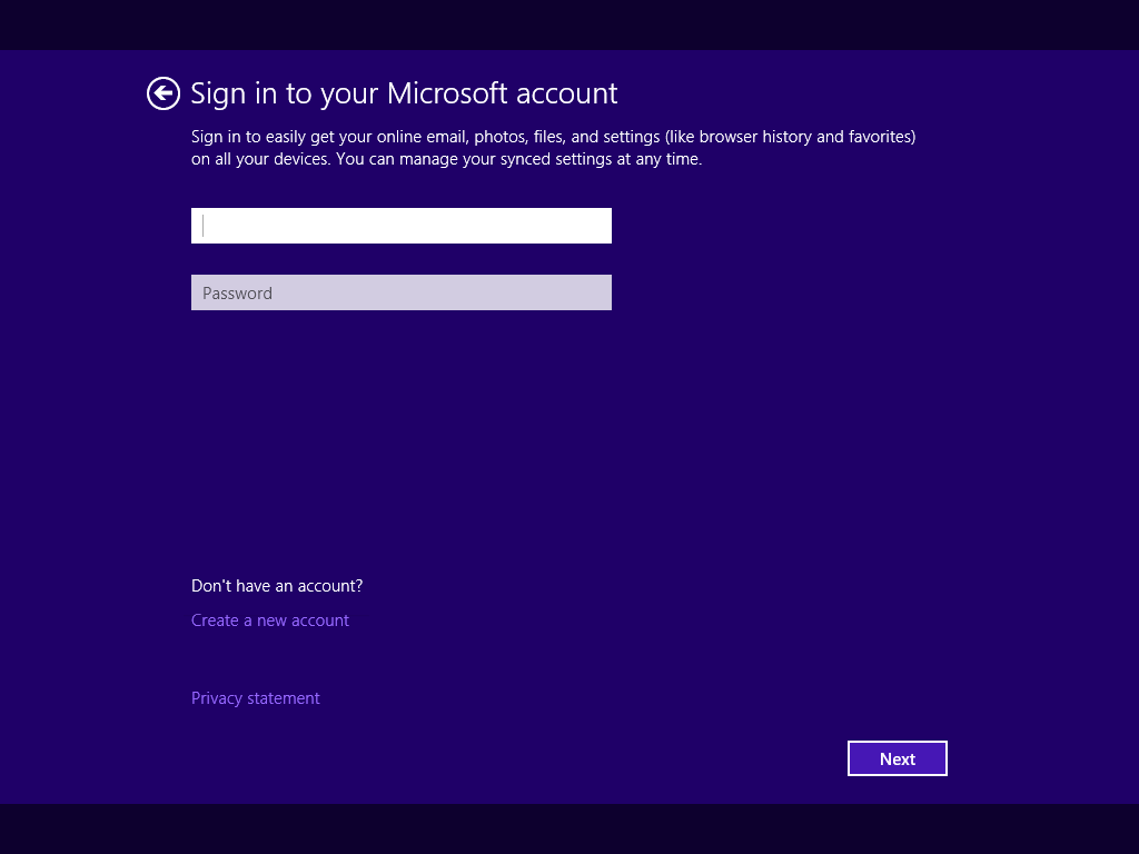 Screenshot of Windows 8.1 Sign In Screen