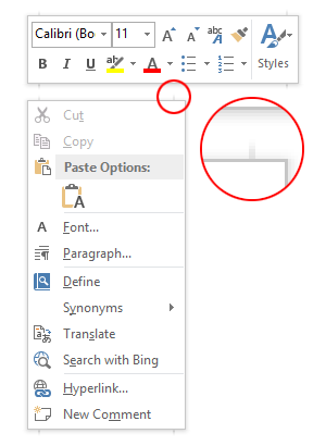 Screenshot of Word 2013 Context Menu Shadow Artefacts